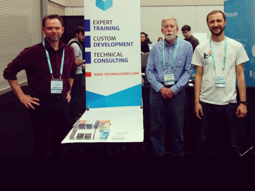 Image: Left to right - Gordon Mohr, Senior Trainer, Jeff Hoey, Business Development, and Lev Konstantinovskiy, Community Manager at Gensim representing RaRe Technologies at PyCon 2016.