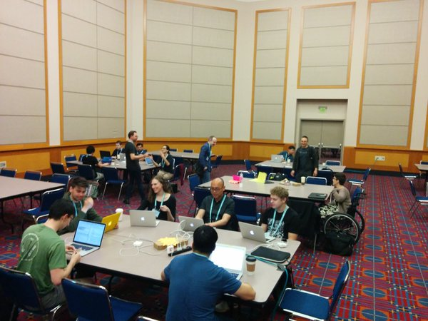 Image: Check out that group! 20 people sprinted Gensim on the first day. PyCon 2016