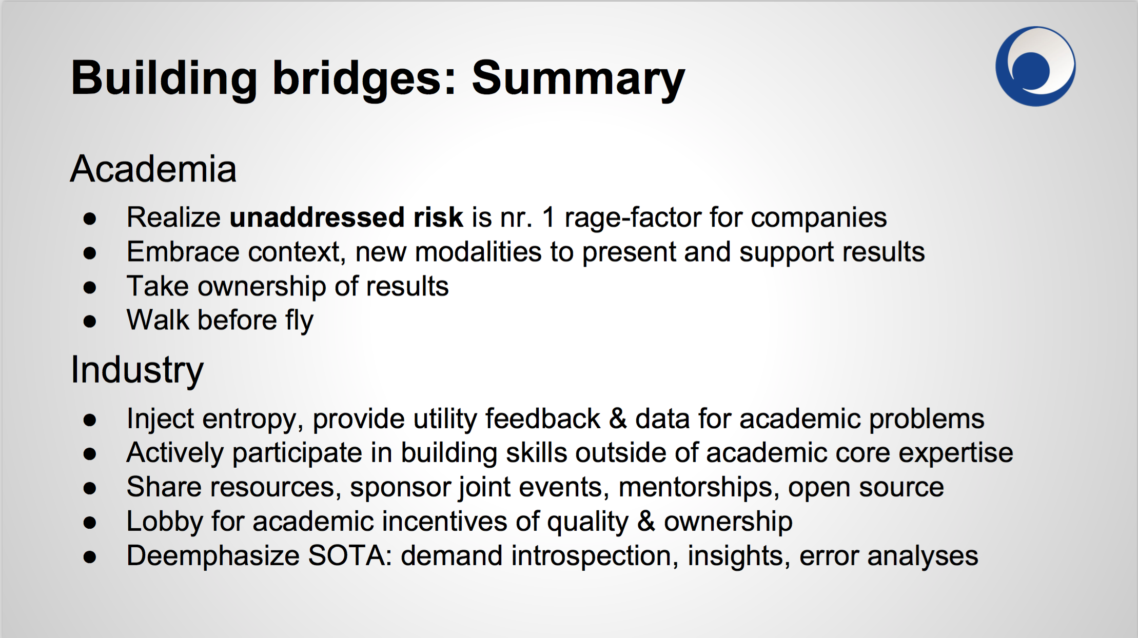 building bridges: summary